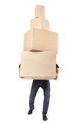 Man with cardboard boxes on white, clipping path
