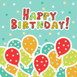 Holiday happy birthday background with balloons