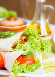fresh vegetables wrapped in Armenian lavash