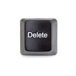 Delete key from the computer keyboard. On a white background.