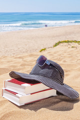 Panama for the sun and reading books on the beach against the se