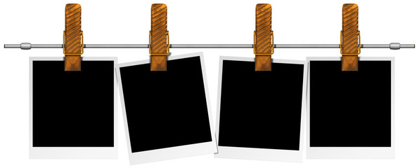 Blank Photos Hanging on Steel Pole