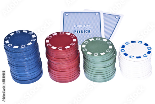 cards with poker chips