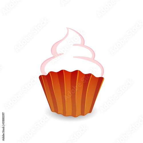 Vector illustration of cupcake isolated on white background