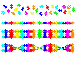 Colored DNA spiral from puzzle - concept