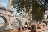 Tourists near the Roman amphitheater in Pula, Croatia