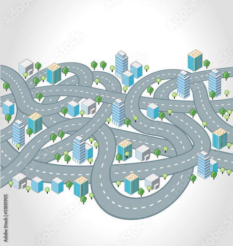 Crazy streets, highways and junctions of a isometric city