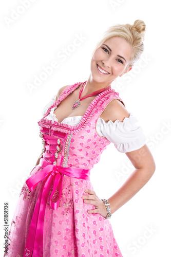 Blonde Frau aus Bayern isoliert im Kleid