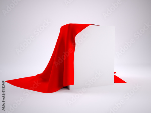 Box covered with red cloth