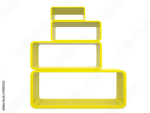 3d isolated Empty yellow bookshelf