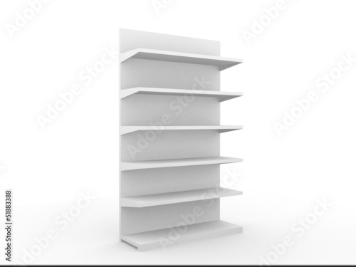 3D shelves and shelf for wrap advertising on a white background.