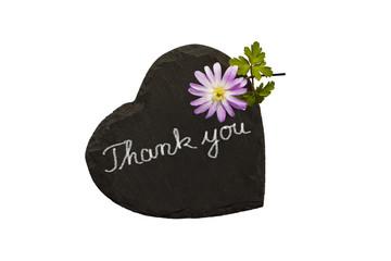 Schiefertafel, Herz mit Blume, Thank you