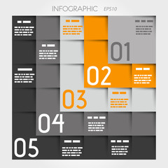 grey and orange five L options square infographic
