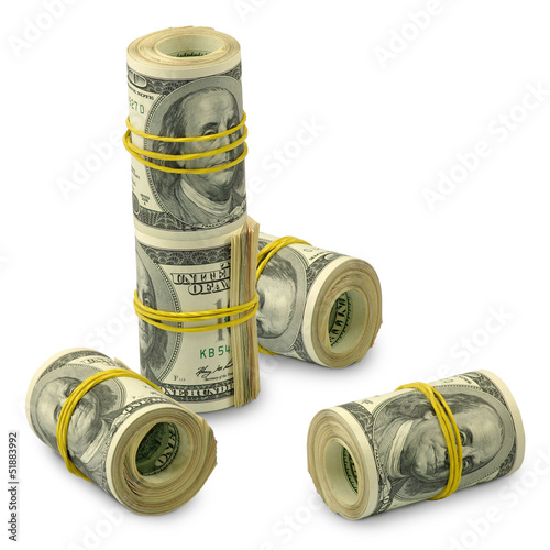 five rolls of money