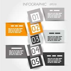 orange square bubble infographic