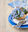Place Setting with Forgetmenot Flowers