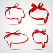 Collection of red ribbons forming speech bubbles