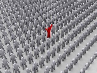 Unique person in crowd. Concept 3D illustration