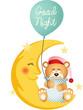 Good night teddy bear sitting on a moon