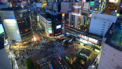 Shibuya, Tokyo, Japan from dusk to Night Time Lapse