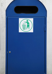 Blue rubbish and recycle bin