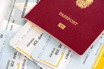 Passport and airline boarding cards