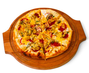 tasty mushrooms pizza with cheese on wooden tray close up white
