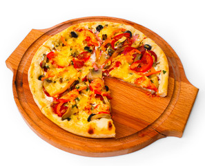 tasty pizza with cheese on wooden tray close up white background