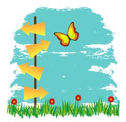cartelli a forma di freccia su paesaggio con prato e  fiori