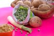 Frozen vegetables : green peas, potatoes, leeks