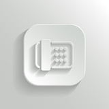 Fax machine icon - vector white app button
