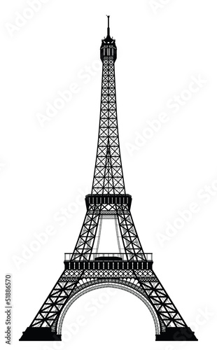 Naklejka dekoracyjna Eiffel Tower Black Silhouette Vector Illustration