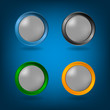 Set of Four colorful buttons on blue background.