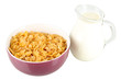 Delicious and healthy cereal in bowl with milk isolated on