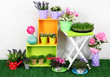 Beautiful colorful shelves and table with decorative elements