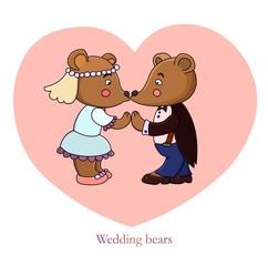 Cartoon romantic . Wedding bears illustration