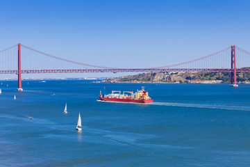 25 de Abril bridge over Tagus river in Lisboa, Portugal