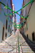 Typical narrow stepped street of Lisbon, Portugal