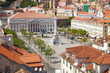 Bird view of Dom Pedro IV square (Rossio). Lisboa, Portugal