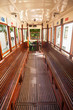 Interior of an old Lisbon tram, Portugal