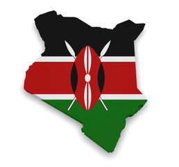 Kenya Map Flag 3d Shape