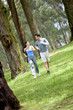 Couple running at the park