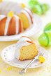 Slice of lemon cake, selective focus