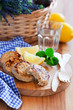 Chicken cutlets with lemon, selective focus