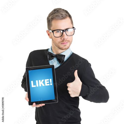 Elegant businessman holding digital tablet that states like