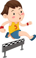 Illustration of a boy jumping hurdle