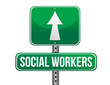 social workers road sign illustration design