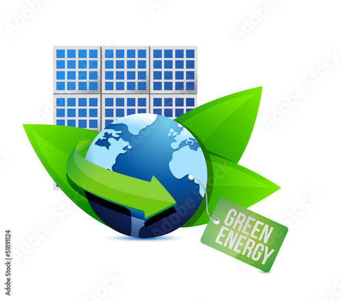 solar panel and Green energy label