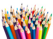Colorful pencils as smiling faces people isolated. Social networ - 51891331