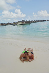 happy young  couple at summer vacation have fun and relax